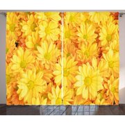 Yellow flower curtains 2 panels set lively daisies fresh bouquets yellow flower curtains 2 panels set lively daisies fresh bouquets with natural seasonal bedding plant mightylinksfo