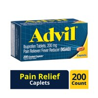 Advil (200 Count) Pain Reliever / Fever Reducer Coated Caplet, 200mg Ibuprofen, Temporary Pain Relief