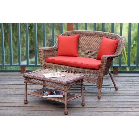 2-Piece Oswald Honey Resin Wicker Patio Loveseat and Coffee Table Set - Red Cushion