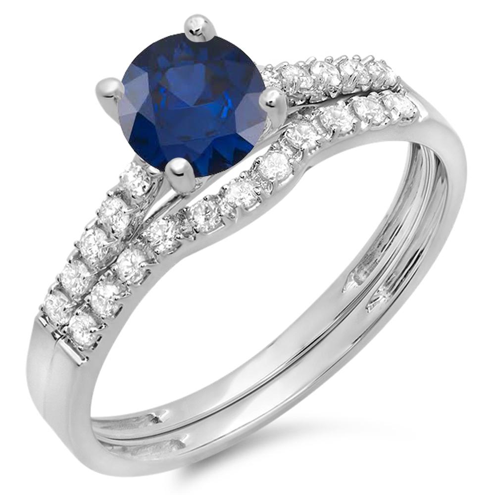 Dazzling Rock 14K Gold Round Blue Sapphire & White Diamon...