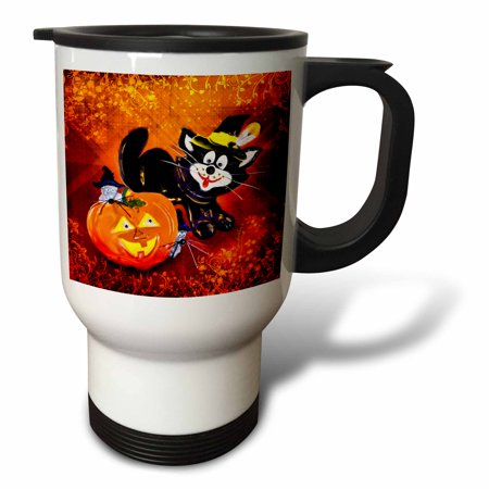 3dRose Funny Halloween Cat and Mouse, Travel Mug, 14oz, Stainless Steel
