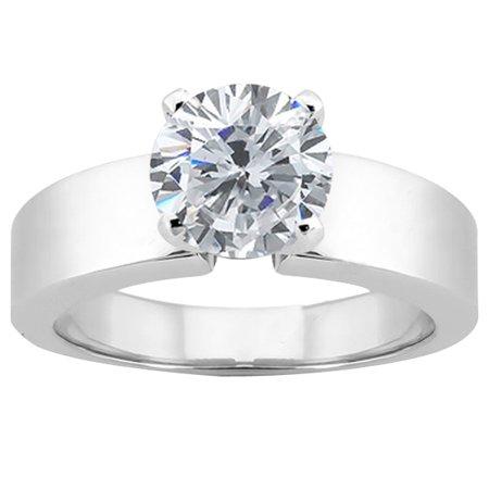 0 80 Ct Round H/I I1 Diamond 18K White Gold Ring