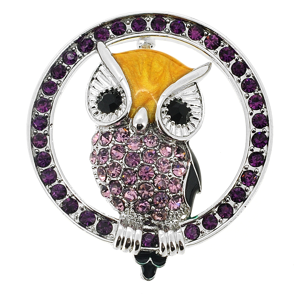 Amethyst Purple Owl Crystal Pin Brooch by