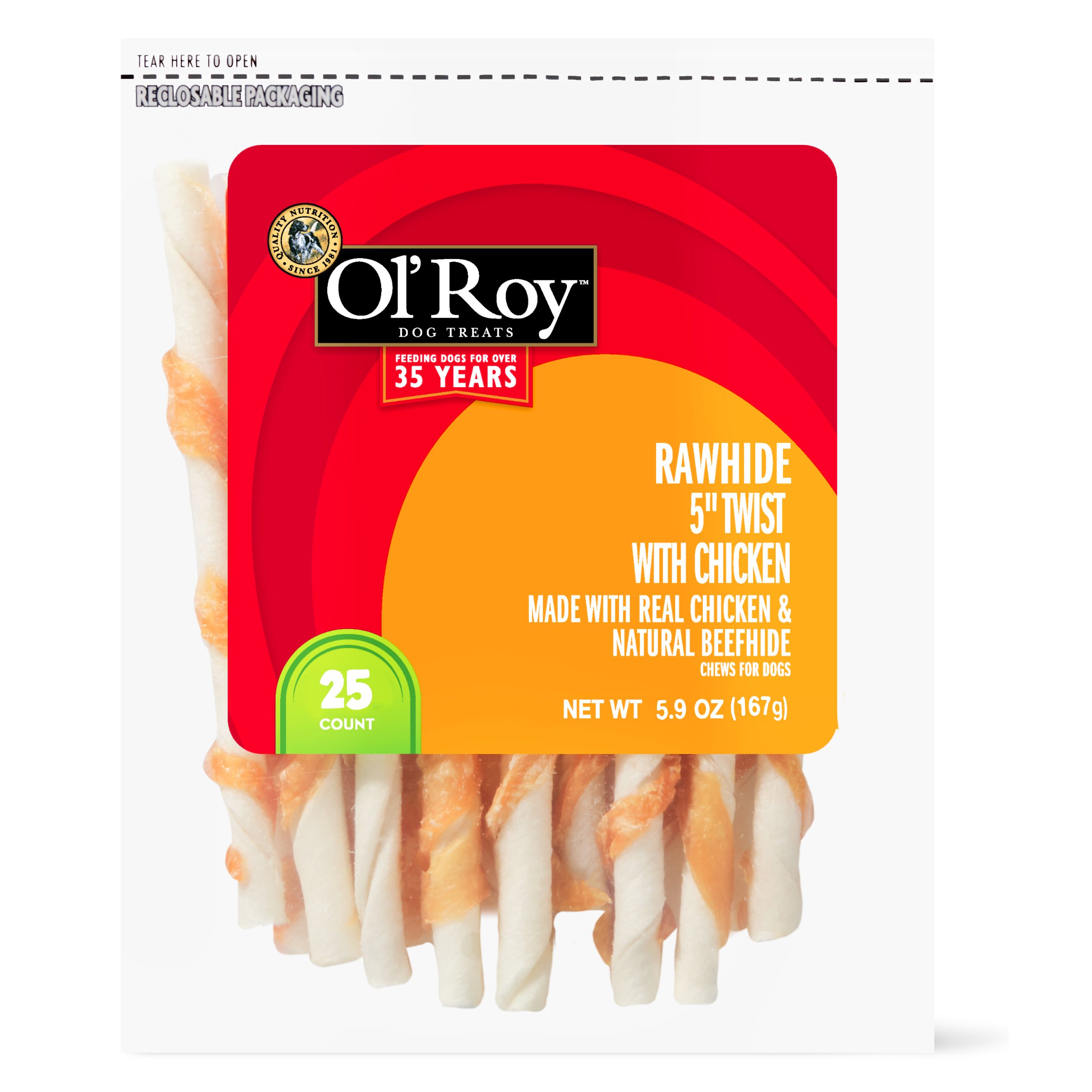 "Ol' Roy Rawhide 5"" Twist with Chicken Chews for Dogs, 5.9 oz, 25 ct"