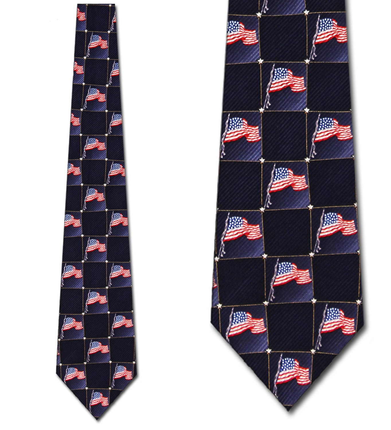 Block Pattern US Flag Necktie Mens Tie by Tieguys
