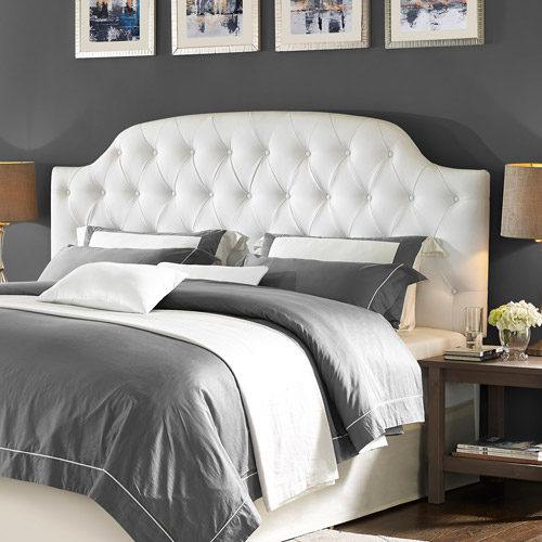 dorel living lyric button tufted faux leather king headboard white