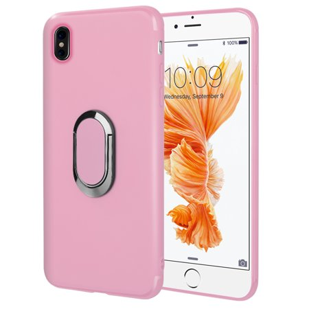 FOR IPHONE XS / X THE SURPLUS SOFT TPU CASE WITH ROTATABLE MAGNET RING STAND - PINK - image 1 de 1