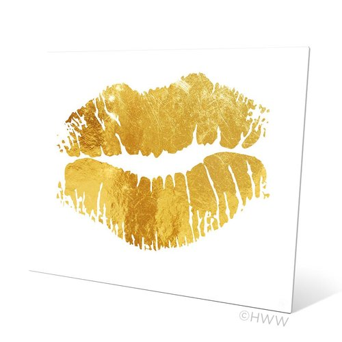 Click Wall Art Lips Graphic Art Plaque in White/Yellow
