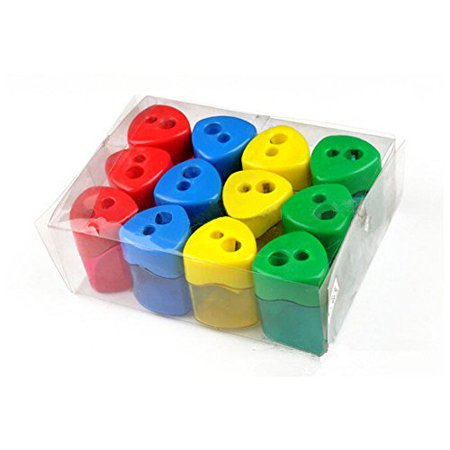 Mega Set Of 12 Double Hole Triangular Shaped Pencil Sharpener With Cover and Receptacle! Comes In 4 Colors- Red, Blue, Yellow, and  Green! - Cute Pencil Sharpener