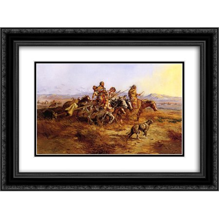Charles M. Russell 2x Matted 24x20 Black Ornate Framed Art Print