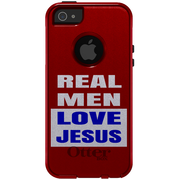 CUSTOM Black OtterBox Commuter Series Case for Apple iPhone 5 / 5S / SE - Red Blue Real Men Love Jesus