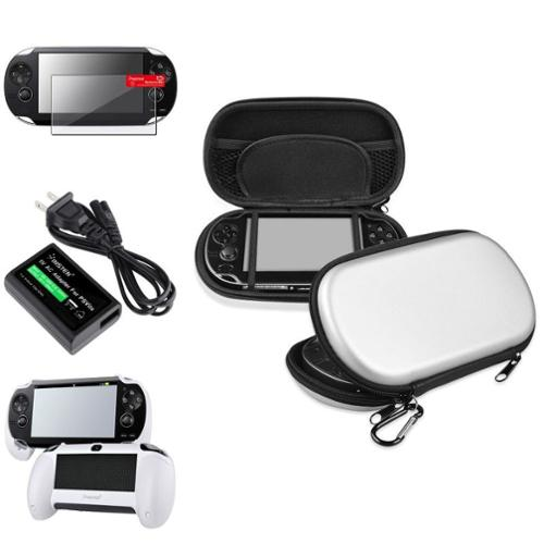 Insten White Hand Grip+Screen Protector+Silver EVA Case+AC Adapter For Sony PS Vita PSV