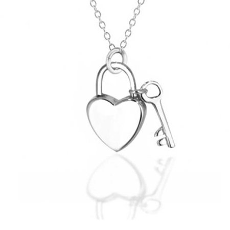 Love Lock And Key Heart Shape 2 Small Charm Pendant For Women Polished 925 Sterling Silver Necklace 16 In - image 5 of 5