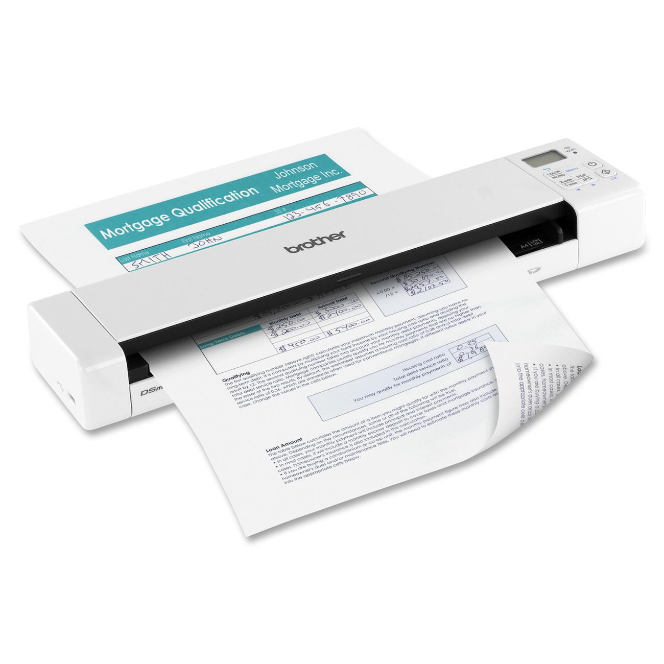 Wi-Fi Transfer Compact and Lightweight Brother Wireless Mobile Color Page Scanner DS-920DW White Fast Scanning Speeds