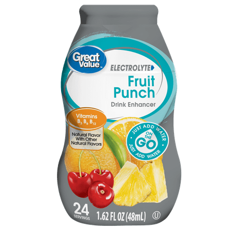 Red Fruit Punch - Great Value Fruit Punch Electrolyte Drink Enhancer, 1.62 Fl. Oz.
