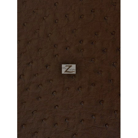 Vinyl Faux Fake Leather Pleather Embossed Ostrich Fabric / Dark Brown / Sold By The Yard