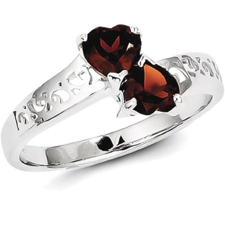 Icecarats 925 Sterling Silver Red Garnet Heart Band Ring Size 6 00  S Love Gemstone  Fine Jewelry Gift Valentine Day Set For Women Heart