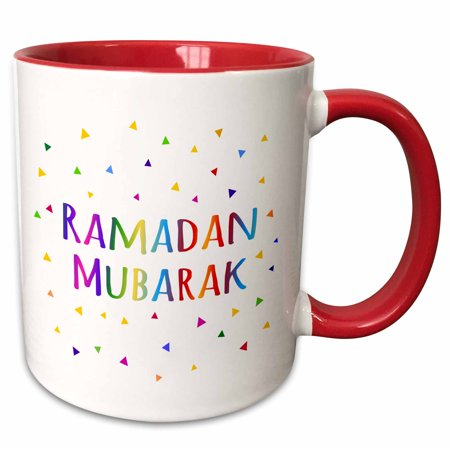 Festival Ceramic (3dRose Ramadan Mubarak - blessing for the start of Muslim fasting festival - Two Tone Red Mug, 11-ounce )