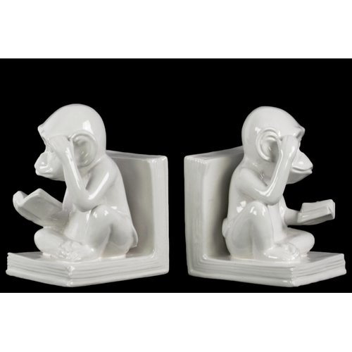 Urban Trends Sitting Reading Monkey Book End