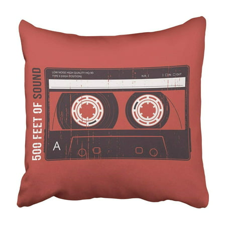 WOPOP 80S Retro Design With Cassette Tape And Apparel Emblem 90S Analogue Audio Badge Compact Pillowcase Cover 16x16 inch (80s Apparel)