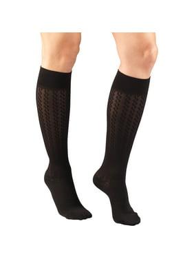 Women's Trouser Socks, Dress Style, Cable Pattern: 15-20 mmHg, Black, Small