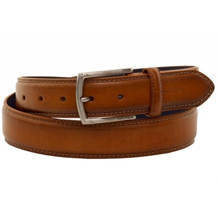 Nautica Mens Triple Stitch Leather Belt-40,COGNAC