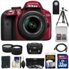 Nikon D3300 Digital SLR Camera & 18-55mm G VR DX II AF-S Zoom Lens (Red) with 32GB Card + Battery + Case + Tripod + Tele/Wide Lens Kit Nikon D3300 Digital SLR Camera<br> + 18-55mm VR II Lens Outfit <br>Creating beautiful photos and videos has never been more fun. Life is full of surprising, joyful moments -- moments worth remembering. The <b>Nikon D3300 Digital SLR</b> makes it fun and easy to preserve those moments in the lifelike beauty they deserve: stunning <b>24.2-megapixel photos</b> and <b>1080p Full HD videos</b> with tack-sharp details, vibrant colors and softly blurred backgrounds. Like sharing photos? The D3300 photos can appear instantly on your compatible smartphone or tablet for easy sharing with the <b>optional WU-1a Wireless Adapter</b>! Whether youre creating high-resolution panoramas, adding artistic special effects or recording HD video with sound, the D3300 will bring you endless joy, excitement and memories -- just like the special moments of your life. This camera outfit includes the versatile <b>AF-S DX NIKKOR 18-55mm f/3.5-5.6G VR II</b> lens which delivers the sharpest, most color-rich results imaginable. Optimized for Nikons new high-resolution DX-format image sensors, it borrows the ultra-compact retractable lens barrel design from the Nikon 1 system. Nikons remarkable <b>Vibration Reduction</b> technology provides 4 stops of blur-free handheld shooting -- enjoy crisp, clear images even if your hands are a bit unsteady and shoot at slower shutter speeds in low-light situations. <br><br><b>Key Features:</b><br> <b>Create stunning lifelike photos and HD videos</b><br> Taking snapshots with a smartphone is convenient, but are those photos good enough for preserving precious moments? The D3300s new EXPEED 4 lets you shoot at high speeds up to 5 frames per second, shoot in low light with high ISO sensitivity, create high-resolution panoramas and much more. Your 24.2-megapixel photos and 1080p Full HD videos will be so impressive, so rich with detail+ and color -- so lifelike -- theyll bring back the feelings of the moments they capture. <b>Compact, lightweight and reliable</b><br> The D3300 is a small and light HD-SLR camera even when paired with the included AF-S DX NIKKOR 18-55mm f/3.5-5.6G VR II lens, which has a new ultra-compact design. The combination is designed to fit comfortably in your hands, and all of the D3300s buttons and dials are positioned for convenient, efficient operation. Youll take the D3300 everywhere you go, which means youll bring home all the beautiful memories of your activities. <b>Focus on the details</b><br> The D3300s 11-point Autofocus System locks onto your subjects as soon as they enter the frame and stays with them until you catch the shot you want. Even fast-moving subjects are captured with tack-sharp precision. And when youre recording Full HD video, Full-time Autofocus keeps the focus where you want it. <b>Spectacular panoramas, Guide Mode and fun Special Effects</b><br> Using the D3300 is super easy -- and a blast. Cant get the whole scene into your frame? Turn on Easy Panorama Mode and pan across the scene -- the D3300 will capture the entire view as a high-resolution panoramic image. Its that easy! Guide Mode gives step-by-step help when you need it (its like having an expert at your side), and you can easily get creative with built-in Image Effects, filters and more. <b>Enjoy the view</b><br> Like all D-SLR cameras, the D3300 has an optical viewfinder that gives you a true view through the lens of the camera -- and what a view it is! If youve been using a point-and-shoot camera, youll find it easier to frame your shots, follow moving subjects, zoom in on bright sunny days and more. <b>Catch every moment</b><br> When the action starts, hold down the shutter button to capture every movement, expression and feeling at 5 frames per second -- thats 5 beautiful photos for every second of action! You wont believe some ot 5 frames per second -- thats 5 beautiful photos for every second of action! You wont believe some of the moments youll catch thanks to Nikons new high-speed EXPEED 4 processing engine.
