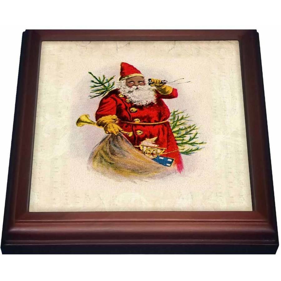 3dRose Illustration Of African American Santa Claus, Trivet with Ceramic Tile, 8 by 8-inch