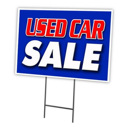 Used Car Sale 12  X16   Yard Sign   Stake Outdoor Plastic Coroplast Window