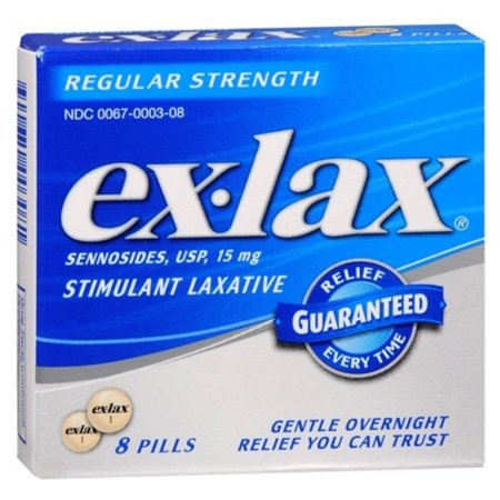 Ex-Lax Pills Stimulant Laxative Regular Strength 8 Each ( Pack of 2), Ex-Lax Pills Stimulant Laxative Regular Strength By - Regular Strength Pills