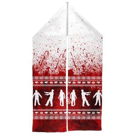 Ugly Christmas Sweater Bloody Zombie Attack Survivor Warm Fleece Scarf](Ugly Christmas Scarf)