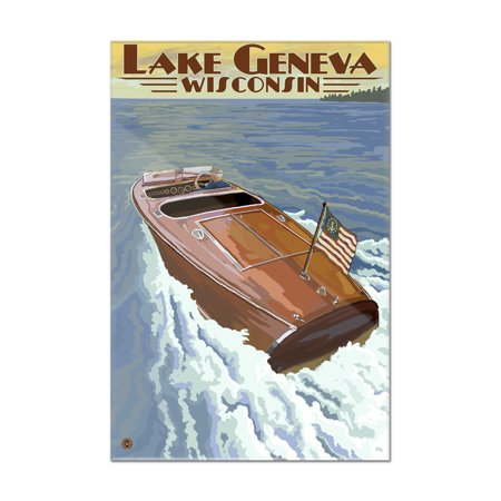 - Lake Geneva, Wisconsin - Chris Craft Wooden Boat - Lantern Press Artwork (8x12 Acrylic Wall Art Gallery Quality)