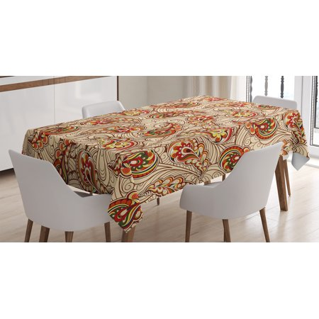 Fall Decorations Tablecloth, Leaves in Ethnic Paisley Folkloric Original Indian Culture Inspired Motif, Rectangular Table Cover for Dining Room Kitchen, 60 X 84 Inches, Red Beige, by Ambesonne - Fall Leaves Decorations