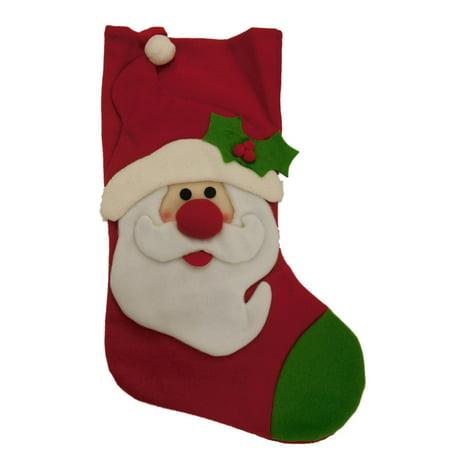 Relt Felt Santa Claus & Holly Christmas Holiday Stocking - Felt Santa