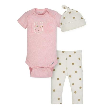 Gerber Organic Cotton Take Me Home Outfit Set, 3pc (Baby Girls) - Organic Baby Girl Gift
