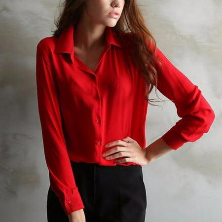 Hot Sale Women Shirts Long Sleeve Turn-Down Collar Ladies Chiffon Blouse Tops OL Office Style ()
