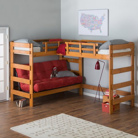 Woodcrest Heartland L Shaped Futon Bunk Bed With Extra Loft Honey Pine