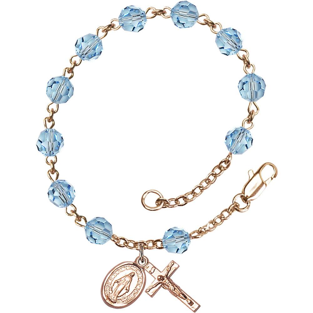 14 Karat Yellow Gold Rosary Bracelet 6mm June Swarovski beads Crucifix sz 5 8 x 1 4. by