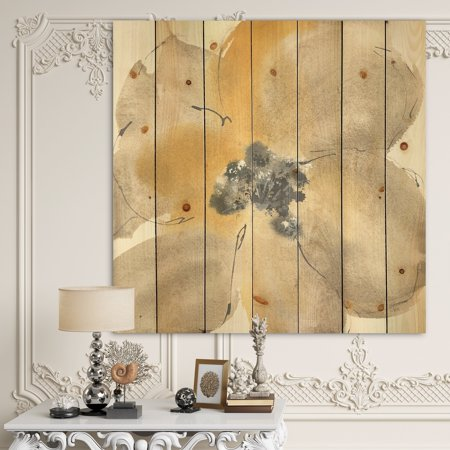 Multi Color Natural Wood - DESIGN ART Designart 'Galm Flower Tones I' Traditional Print on Natural Pine Wood - Multi-color