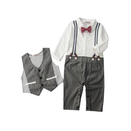 Baby Boy Tuxedo Design Romper Onesie and Vest (6-12 Months, Grey) (Baby Construction Vest)