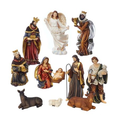 Kurt Adler 8.5-inch Poly Nativity Table piece Set, 11 Pieces Indoor Nativity Set