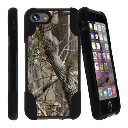 Double Layer Glass (Apple iPhone 7 Case, iPhone 7 Kickstand Case [STRIKE IMPACT] Tempered Glass Combo + Double Layered Hybrid Fusion Kickstand Case by Miniturtle® - Nature's Tree Camo)