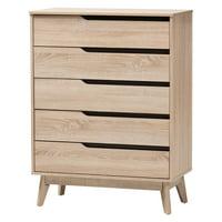 Baxton Studio Fella Two-Tone Oak and Gray Wood 5-Drawer Chest