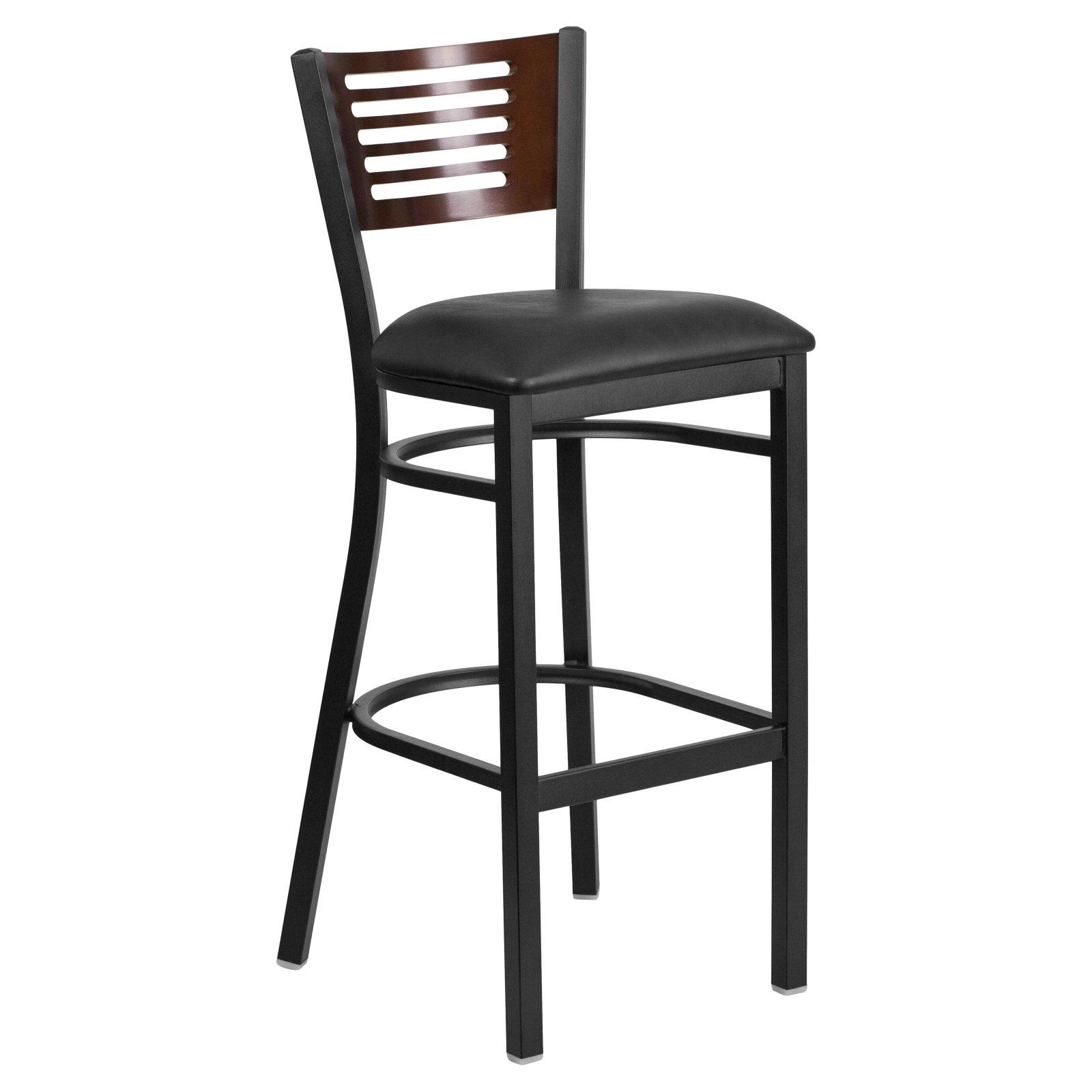 Flash Furniture HERCULES Series Black Decorative Slat Back Metal Restaurant Barstool, Wood Back, Vinyl Seat, Multiple Colors