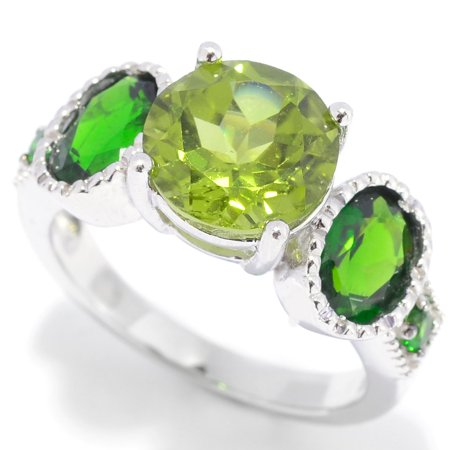 Chrome Natural (Sterling Silver with Natural Peridot and Chrome Diopside Five-Stone Ring )