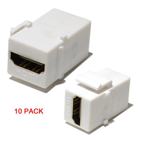 Hdmi Insert (White HDMI Connector Keystone Insert Jack Female to Female Adapter Coupler)