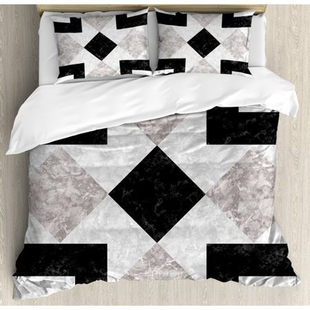 Ambesonne Apartment Nostalgic Marble Stone Mosaic Regular Design with Alluring Elements Image Duvet Cover Set