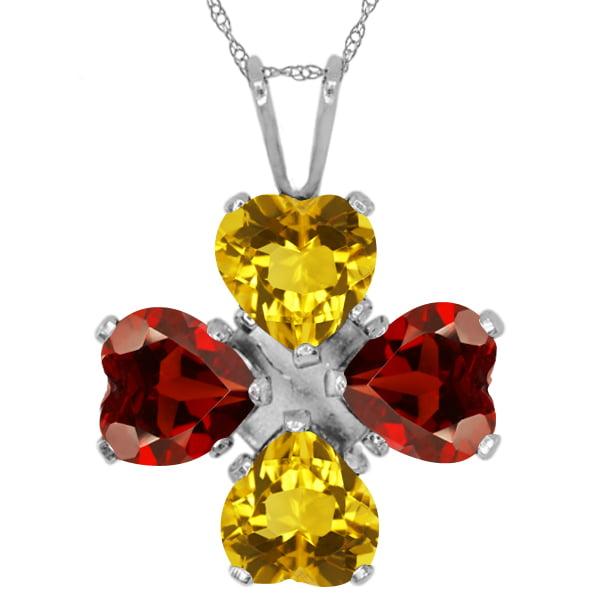 "3.24 Ct Heart Shape Yellow Citrine Red Garnet 925 Sterling Silver Pendant 18"""