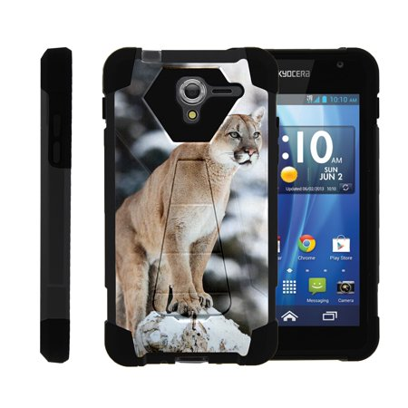 TurtleArmor ® | For Kyocera Hydro View | Hydro Reach | Hydro Shore [Dynamic Shell] Dual Layer Hybrid Silicone Hard Shell Kickstand Case - Mountain Cougar ()
