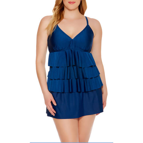 Catalina Women's Plus-Size Tiered Ruffle Tankini Top With Keyhole Back